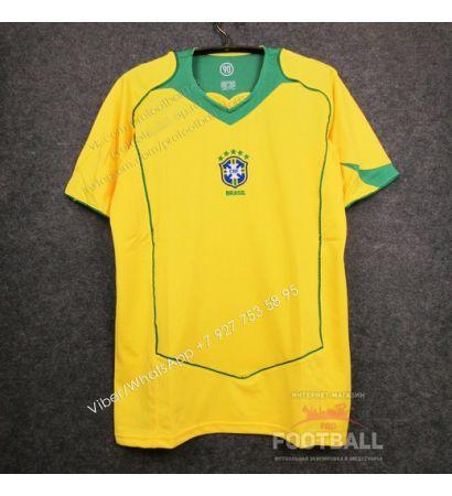 Футболка сборной Бразилии домашняя ретро 2004