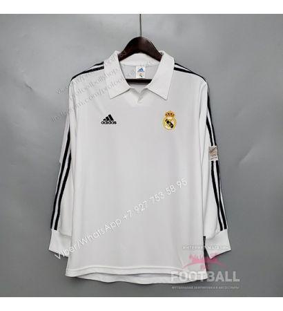 Футболка Реал Мадрид с длинным рукавом домашняя ретро 2002