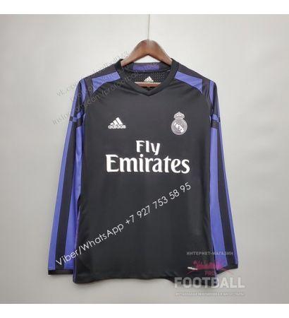 Футболка Реал Мадрид с длинным рукавом резервная ретро 15/16