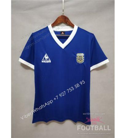 Футболка сборной Аргентины гостевая ретро 1986